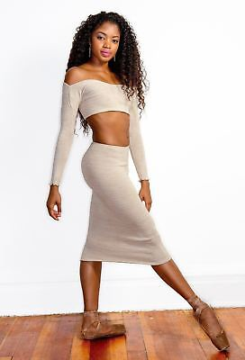 Cozy Knee High Sweater TUBE Dress with Off Shoulder Crop Top MADE IN USA