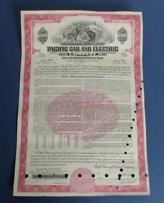 USA: $1000 1958 Pacific Gas and Electric Company  Mortgage Bond (385 x 255mm)