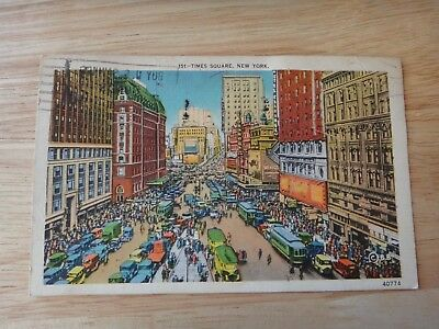 Vintage 1939 Postcard Times Square New York City 1 cents stamp Colorful