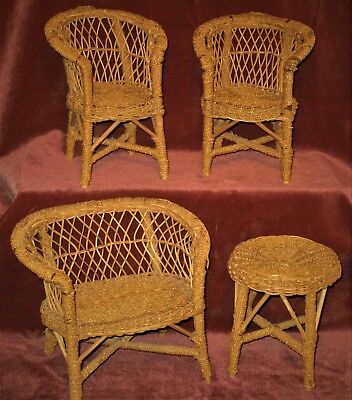 Antique/vintage Rare Wicker Rattan 4-Pc Doll Furniture Porch Set Original Finish