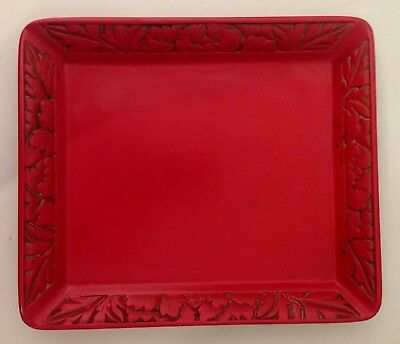 Vintage Japanese carved Red Cinnabar oblong tray