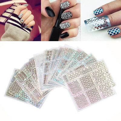 12pcs/24pcs Sheets Laser Nail Stickers Beautiful Special Plastic