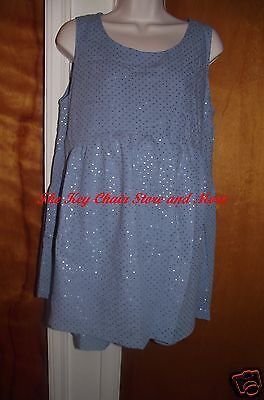 Maternity Shorts Set * Blue Jean Fabric/Silver Metallic Accents * Size Medium