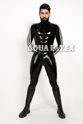 Man Tight Fit Rubber Latex Catsuit with Side Stripes Front Zipper Rubber Suit