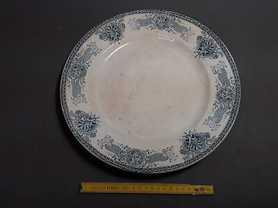 Antique large dish ceramic outline blue french old pottery flat dish