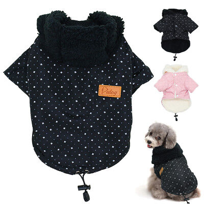 Dog Clothes Winter Warm Fleece Padded Coat Jacket Hoodie for Pet Puppy Chihuahua