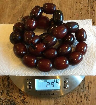 Huge Antique Vintage Cherry Amber Bakelite Bead Necklace 297g Simichrome Tested