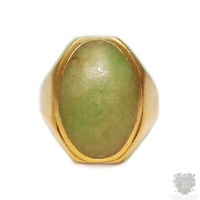 Antique solid 22k gold apple green jade Chinese signet ring Art Deco signed