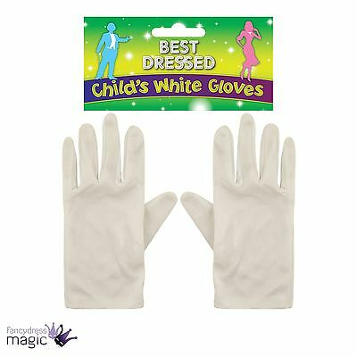 Childs Kids Short Formal White Gloves Clown Magician Mime Fancy Dress Accessory