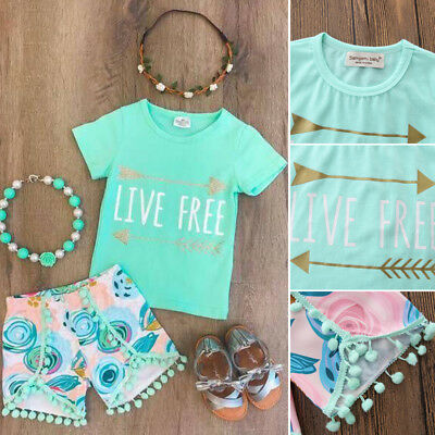 Toddler Kids Baby Girl Short Sleeve Tops T-shirt+Short Pants Casual Outfits Set