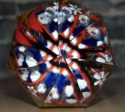 Art Deco Faceted Handmade Crystal Glass Paperweight c. 1920s