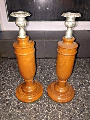 Vintage Pair Of Wood Decorated  Silver plated Candlestick Holder #03