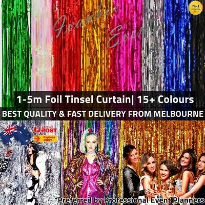 Metallic Tinsel Curtain Foil 1m 2m 3m 4m 5m Backdrop Pom Poms Streamers Decor AU