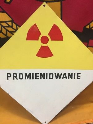 "Vintage Warning Metal Sign ""Radiation"" Made in Poland Army Industrial Signage"