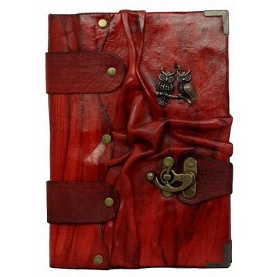 Handmade Genuine Leather Journal Diary Notebook Notepad Book Red Owl