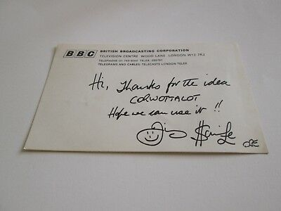 JIMMY SAVILE OBE !!! signed card when asking for ideas forJIM 'LL FIX IT