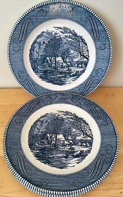 """Royal China Currier and Ives The Old Grist Mill 10"""" Blue Dinner Plate Set of 3"""