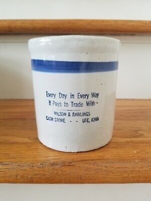 Advertising stoneware crock beater jar Wilson Rawlings Ute Iowa general store