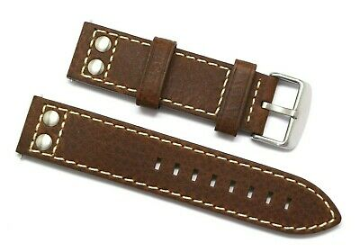 22mm Brown Rivet Style Oily Cowhide Leather Replacement Watch Band - TW Steel 22