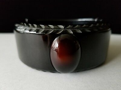 Vintage Rare Carved Black Bakelite Clamper