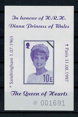 Block In honour of H.R.H. Diana Princess of Wales Queen of the Hearts nummeriert