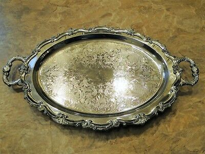 VINTAGE EPCA BRISTOL SILVERPLATE BY POOLE ORNATE SERVING #139 TRAY 22x13