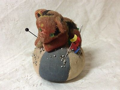 Antique Vintage Straw Filled Teddy Bear On A Ball Tape Measure Tail Pin Cushion