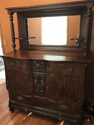 North Wind Wood Storage Buffet with Sideboard and Mirror - Antique Hutch Cabinet
