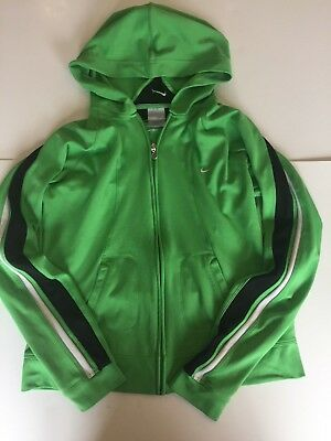Nike Youth Female Long Sleeve Full Zip Green Hooded Athletic Track Jacket Size L