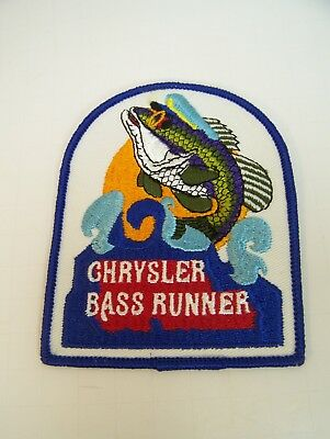 Patch Chrysler Bass Runner Marine Nautical Boat Fish Water 4 1/2 x 3 1/2 Vintage