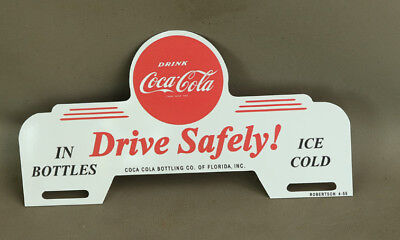1950s Coca Cola DRIVE SAFELY License Plate Topper Sign