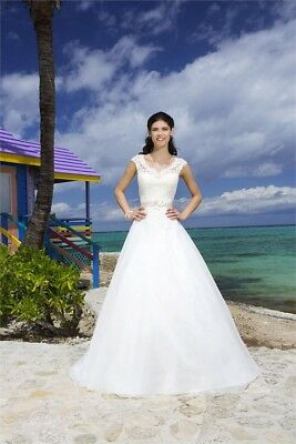sincerity bridal 3777 Lace V-Neck Gown/Cap Sleeves Ivory Wedding Dress US Size12