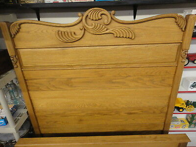 antique tall oak full size headboard & footboard bed, can be converted to queen