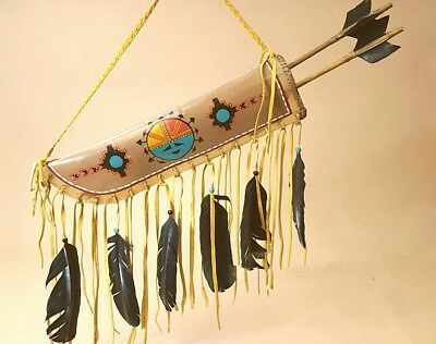 Navajo Hand Made Painted American Indian Quiver & Arrows - Sun Face