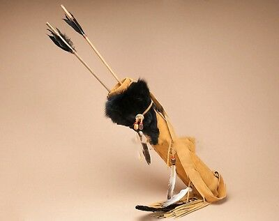 """Navajo Hand Made Black Fox Face Deer Skin Quiver 20"""" With Arrows"""