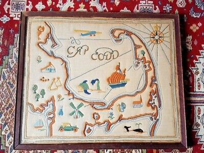 """Antique 1930's CAPE COD Folk Art Map """"CAP CODD"""" Hand Embroidered Great Example !"""
