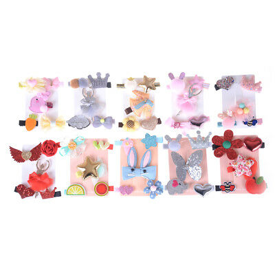 5Pcs/Set Kids Girls Cartoon Bowknot Hairpins Hair Clips Hair Accessories