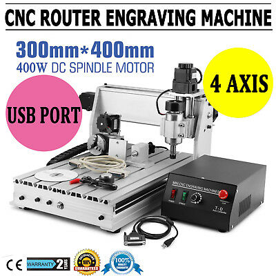 4 Axis 3040T Usb Cnc Router Engraver Engraving Cutter Desktop T-Screw Cutting