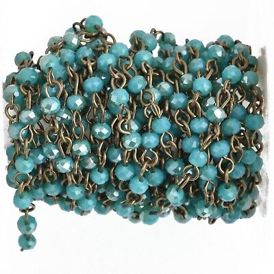 3ft TEAL BLUE Crystal Rosary Chain, bronze, 4mm rondelle crystal beads fch0881a