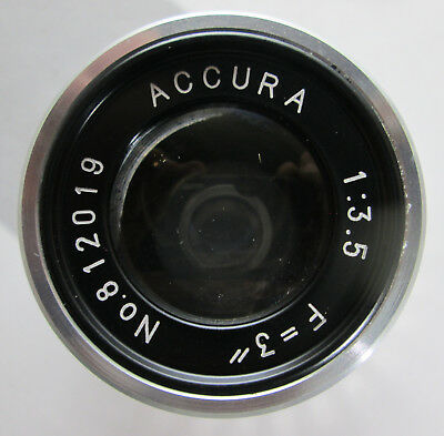 "Accura Coated Color Corrected Enlarging Lens 3"" 75mm f3.5 w Box and One Cap USED"