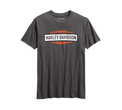 Harley-Davidson Stacked Graphic Slim Fit T-Shirt Gr. M - Grau Weiß Orange