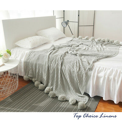 Home Cotton Sofa Throw Blanket Bed Cover Rug W100*L150 - Grey