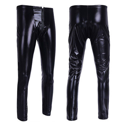 Herren Lackleder Wetlook Tight Hosen Männerbody Leggings Lange Hosen Unterwäsche