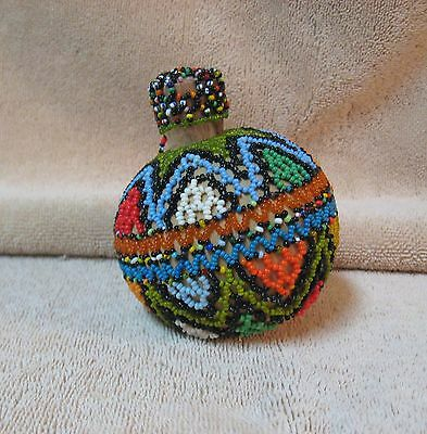 Vtg African Seed Bead Beaded Gourd Snuff Box Bottle