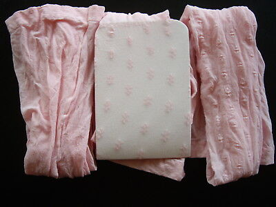 3 Pairs Girl's Pink Daisy Pattern Bridesmaid Wedding Party Tights Age 2-4 UK