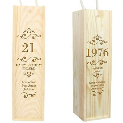Personalised Wooden Spirits Wine Bottle Presentation Box Birthday Anniversary