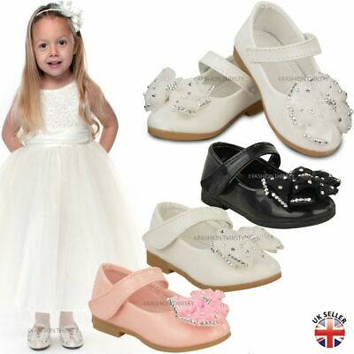 Baby Kids Girls Flat Bow Shoes Infants Strap Christening Soft Party Size