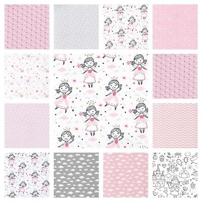 Higgs & Higgs PINK PRINCESS -100% COTTON FABRIC children GIRLS hearts stars dots