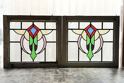 Pair of Antique Stained Glass Windows Six Color Stunning Design (3091)