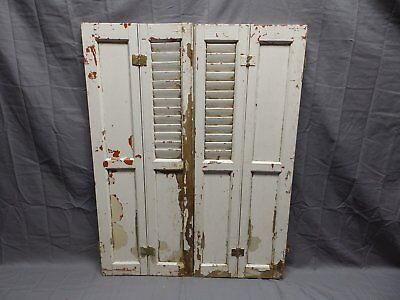 Antique Bi-fold Window Wood Louvered Paneled Shutters 32x13 Interior Vtg 514-18P